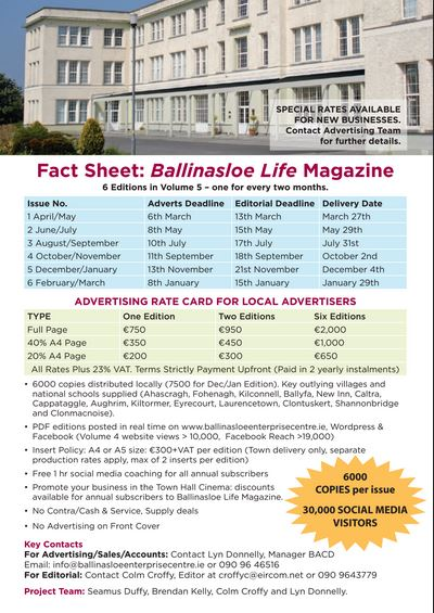 Ballinasloe Life Magazine Rate Card